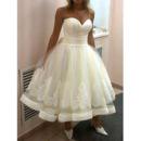 Stunning Ball Gown Sweetheart Tea-length Satin Tulle Wedding Dresses