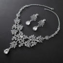 Perfect Sparkling Crystal Floral Necklace and Earring Set