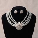 Delicate Gorgeous Crystal Pearl Necklace and Earrings Set